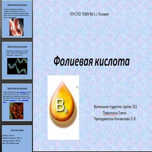 Презентация Фолиевая кислота