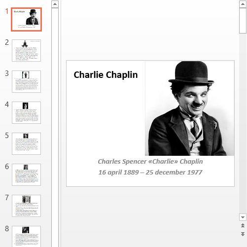 Презентация Чарли Чаплин
