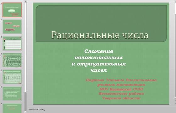 Презентация Сложение положительных и отрицательных чисел