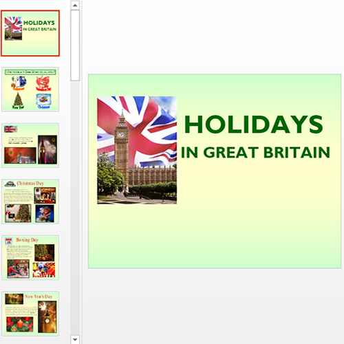 Презентация Holidays in Great Britain
