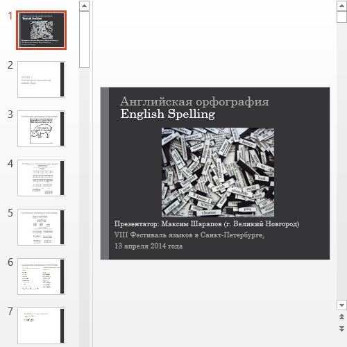 Презентация English Spelling
