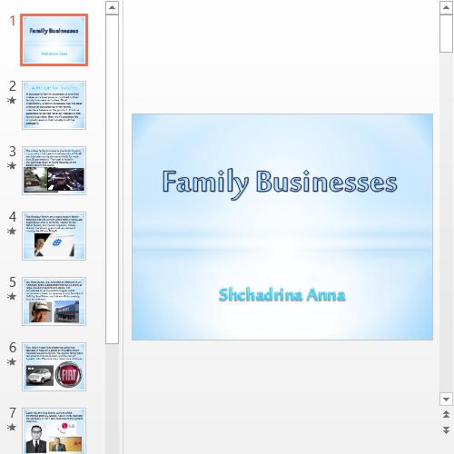 Презентация Family businesses