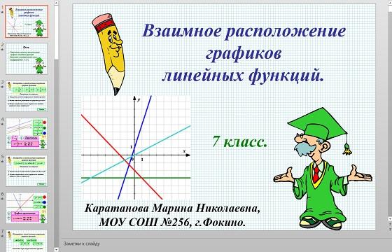 Презентация Взаимное расположение графиков линейной функции