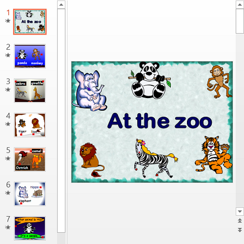 Презентация В зоопарке на английском