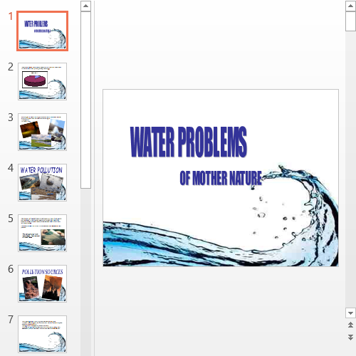 Презентация Проблема загрязнения воды