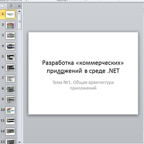 Презентация Архитектура NET приложений