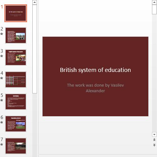 Презентация British system of education