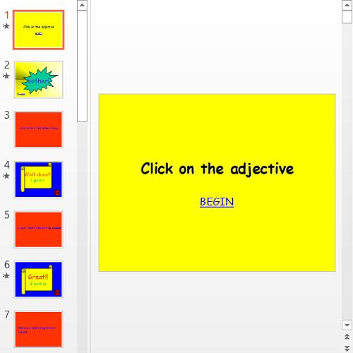 Презентация Click on the adjective