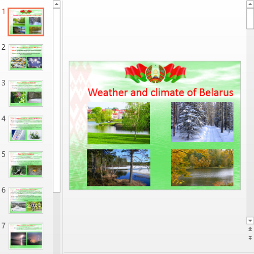 Презентация Weather and climate of Belarus