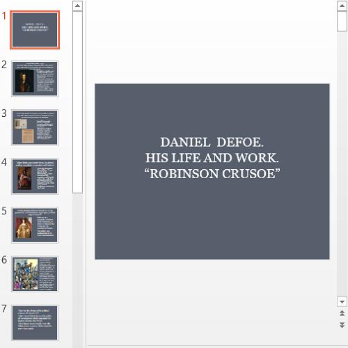Презентация Daniel Defoe Robinson Crusoe