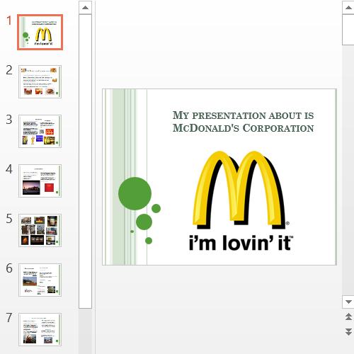 Презентация McDonald's Corporation