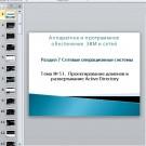 Презентация Проектирование доменов и развертывание Active Directory