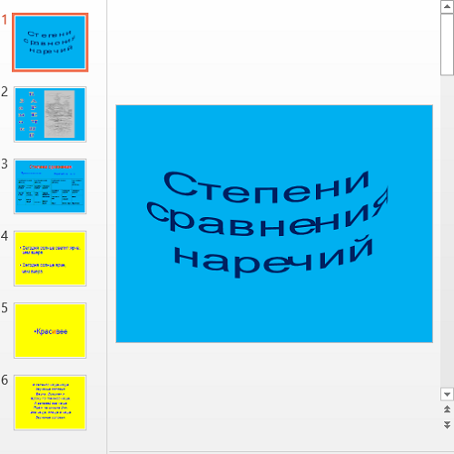 Презентация Степени сравнения наречий в русском