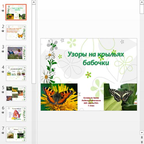 Презентация Узоры на крыльях бабочки