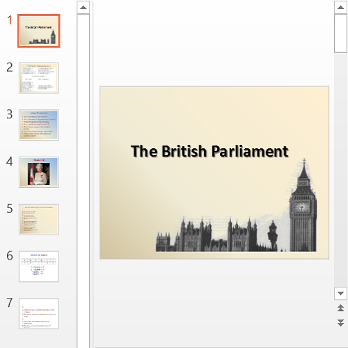 Презентация The British Parliament