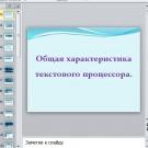 Презентация Общая характеристика текстового процессора