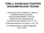 ТЕМА 2. БАЗИСНЫЕ ПОНЯТИЯ ЭКОНОМИЧЕСКОЙ ТЕОРИИ 1. Экономические
