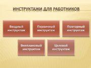 ИНСТРУКТАЖИ ДЛЯ РАБОТНИКОВ Вводный инструктаж Первичный инструктаж Повторный