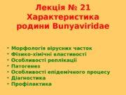 Лекція № 21 Характеристика родини Bunyaviridae  Морфологія