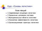 Курс «Основы логистики» План лекций 1.Современные концепции логистики