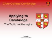 Tom Wilks Schools Liaison Officer Clare College Cambridge