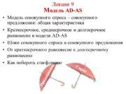 Лекция 9 Модель AD-AS Модель совокупного спроса –