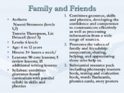Family and Friends Authors: Naomi Simmons (levels 1,