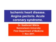 Ischemic heart disease. Angina pectoris. Acute coronary syndrome.