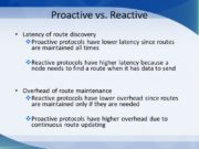 Proactive vs. Reactive Latency of route discovery Proactive
