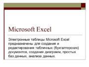 Microsoft Excel Электронные таблицы Microsoft Excel предназначены для