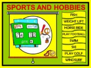 FISH SPORTS AND HOBBIES WEIGHT LIFT HORSE RIDE