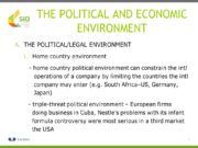 1 THE POLITICAL AND ECONOMIC ENVIRONMENT THE POLITICAL/LEGAL