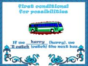 first conditional for possibilities If we ________ (hurry),
