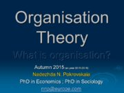 Organisation Theory Autumn 2015 (ac. year 2015 -2016)