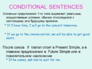 CONDITIONAL SENTENCES Условные предложения 1 -го типа выражают
