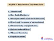 Chapter 6. Free Radical Polymerization 6. 1 Introduction