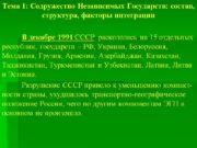 Тема 1: Содружество Независимых Государств: состав, структура, факторы