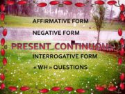 PRESENT CONTINUOUS INTERROGATIVE FORM « WH » QUESTIONS