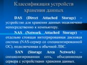 Классификация устройств хранения данных DAS (Direct Attached Storage)