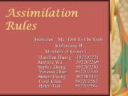 Assimilation Rules Instructor:Ms. Terri Li-Chi Yueh Sophomore B