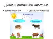 Дикие и домашние животные Дикие животные Домашние животное