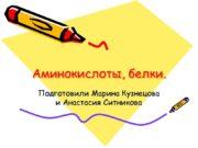 Аминокислоты, белки. Подготовили Марина Кузнецова и Анастасия Ситникова