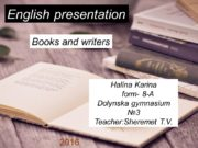 English presentation Books and writers Halina Karina form-
