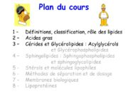1 – Définitions, classification, rôle des lipides 2