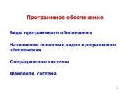 Программное обеспечение  Виды программного обеспечения Назначение