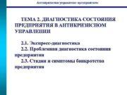 Антикризисное управление предприятием  ТЕМА