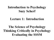 Introduction to Psychology Suzy Scherf Lecture 1: Introduction