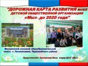 Представляет: Куплинова Инна лидер ДОО «Мы» «ДОРОЖНАЯ КАРТА