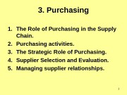13. Purchasing 1. The Role of Purchasing in