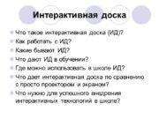 Интерактивная доска Что такое интерактивная доска (ИД)? Как